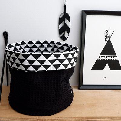 Commodemandje driehoek zwart/wafelstof zwart