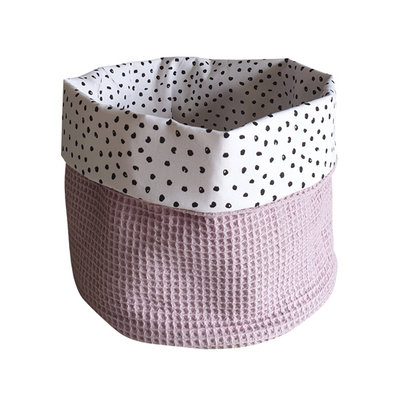 Commodemandje confetti zwart wafelstof oud roze
