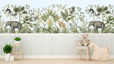 behang Jungle Monkeys olifant/giraf