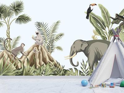 behang Jungle Monkeys aapjes/olifant