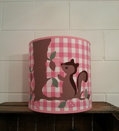 Hippe hanglamp Uil & Eekhoorn bb ruit roze