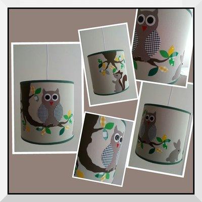 Hanglamp uil & eekhoorn groen
