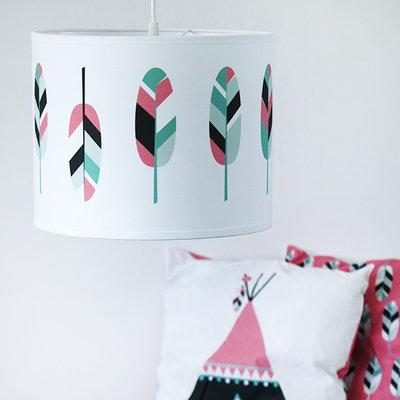 Lamp indiaan veren roze
