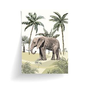 Poster Jungle getekend - Olifant