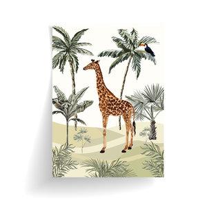 Poster Jungle getekend - Giraf