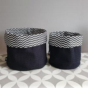 commodemandje set zigzag zwart met wafelstof