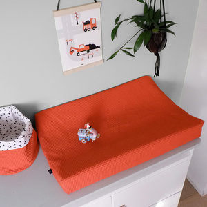 Aankleedkussenhoes Babykamer Wafelstof Basic | terracotta rood