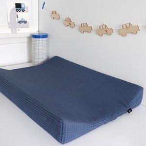 Aankleedkussenhoes Babykamer Wafelstof Basic   donker oud blauw