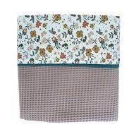 Ledikant deken bloemen wafelstof taupe