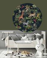muurcirkel jungle tropisch zwart - giraf/apen