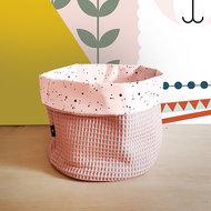 commodemandje confetti roze met wafelstof