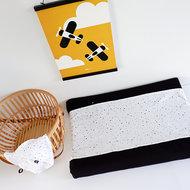 Aankleedkussenhoes Babykamer Wafelstof   confetti op wit