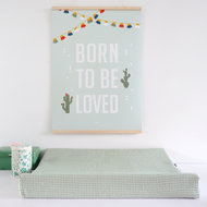 Aankleedkussenhoes Babykamer Wafelstof Basic   old green